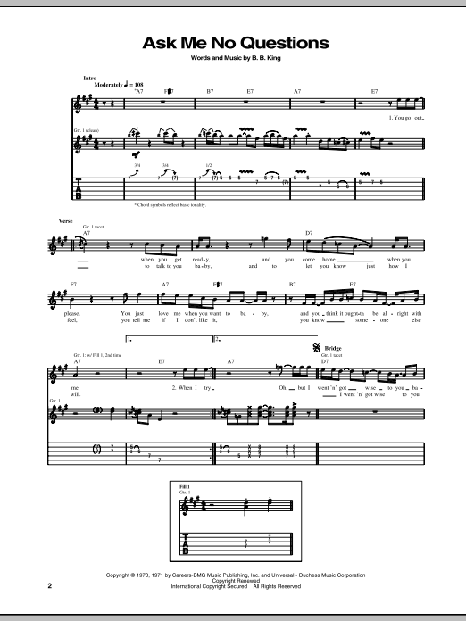 Tablature guitare Ask Me No Questions de B.B. King - Tablature Guitare