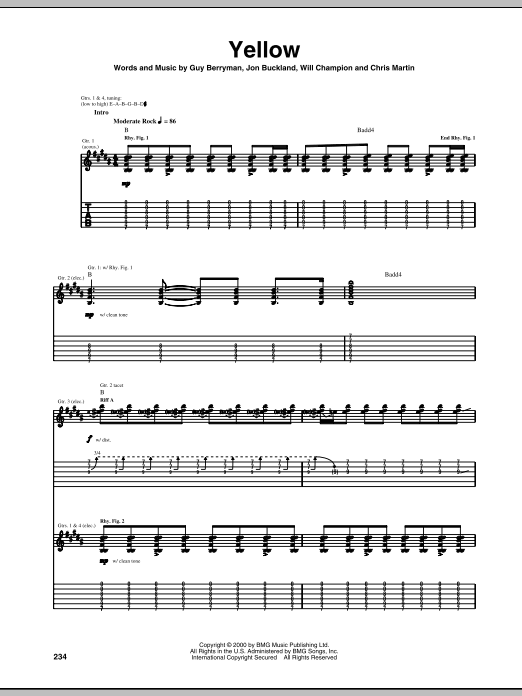 Coldplay: Yellow - Guitar Tab : Sheetmusicdirect.com