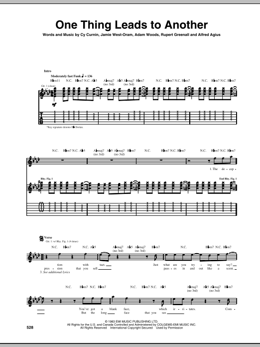 Tablature guitare One Thing Leads To Another de The Fixx - Tablature Guitare