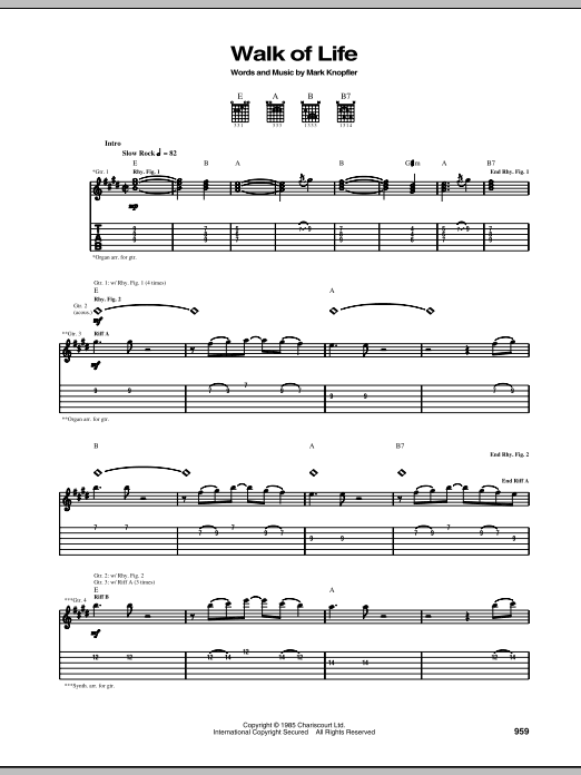 Walk Of Life sheet music for guitar solo (tablature) by Dire Straits