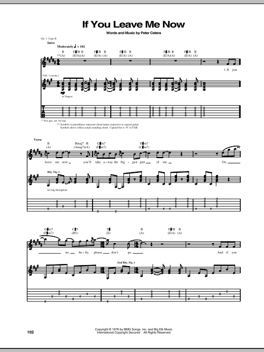 Tablature guitare If You Leave Me Now de Chicago - Tablature Guitare