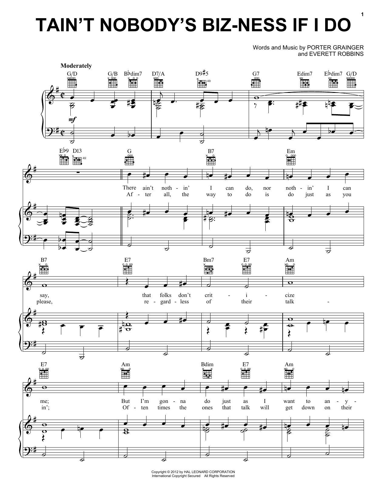 Tain't Nobody's Biz-ness If I Do sheet music for voice, piano or guitar by Porter Grainger