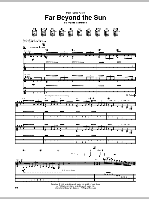Far Beyond The Sun sheet music for guitar solo (tablature) by Yngwie Malmsteen