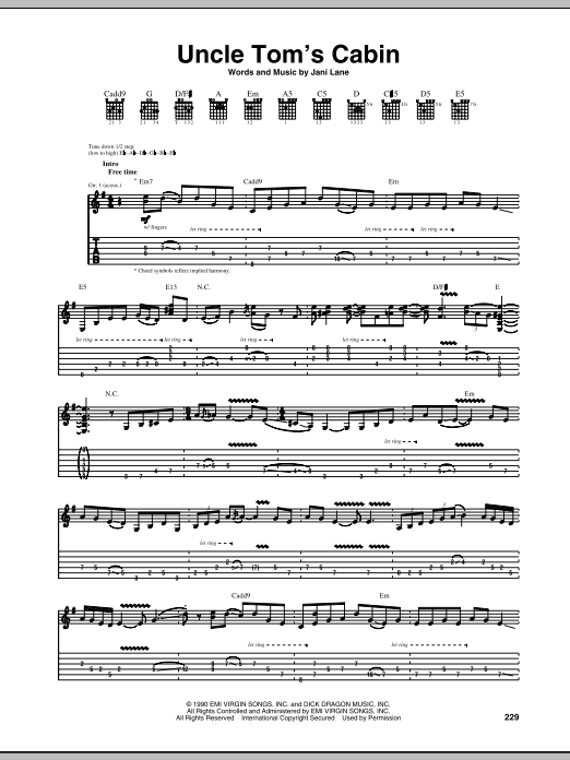 Tablature guitare Uncle Tom's Cabin de Warrant - Tablature Guitare