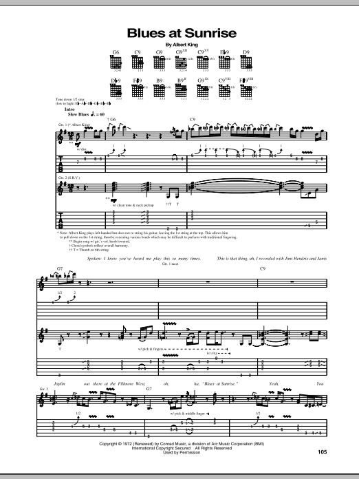 Tablature guitare Blues At Sunrise de Stevie Ray Vaughan - Tablature Guitare