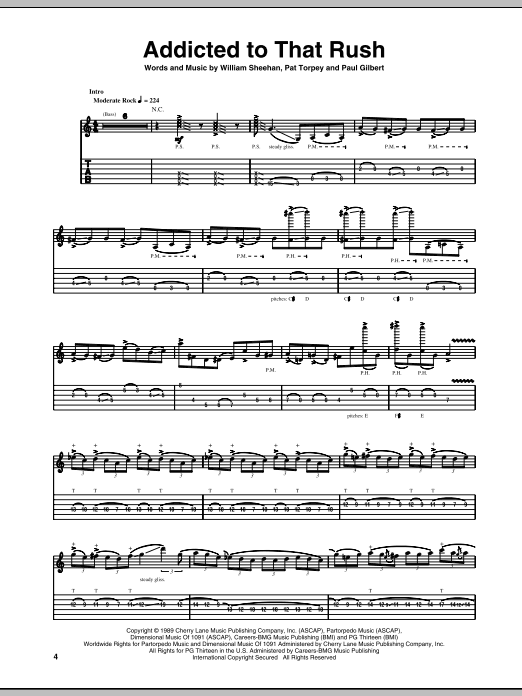 Addicted To That Rush sheet music for guitar solo (tablature) by Billy Sheehan