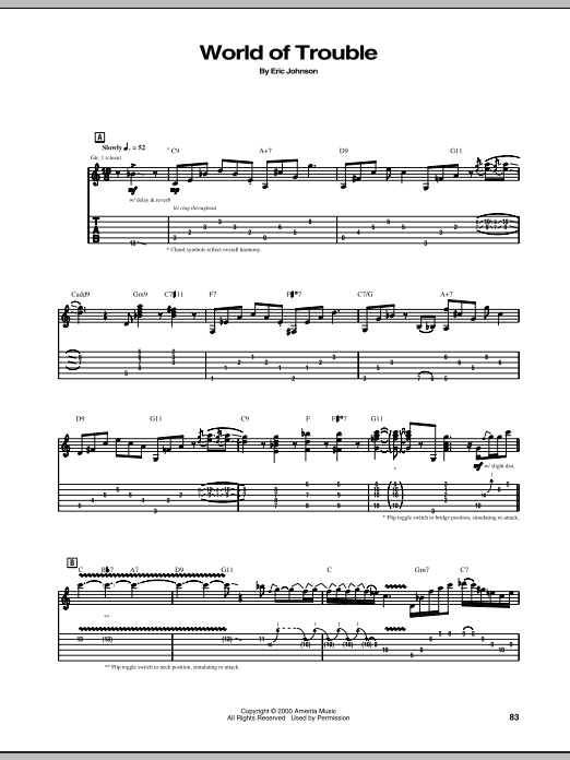 Tablature guitare World Of Trouble de Eric Johnson - Tablature Guitare