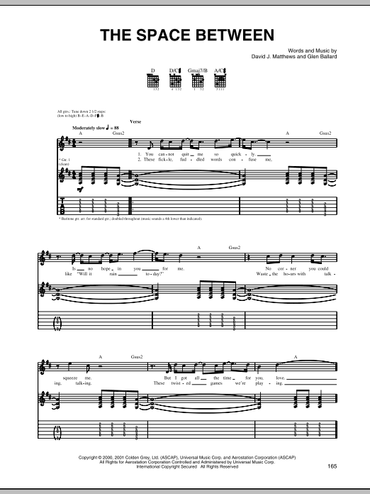 Tablature guitare The Space Between de Dave Matthews Band - Tablature Guitare