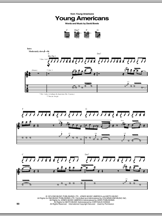 Tablature guitare Young Americans de David Bowie - Tablature Guitare
