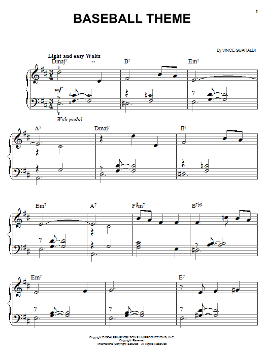 Baseball Theme sheet music for piano solo (chords) by Vince Guaraldi