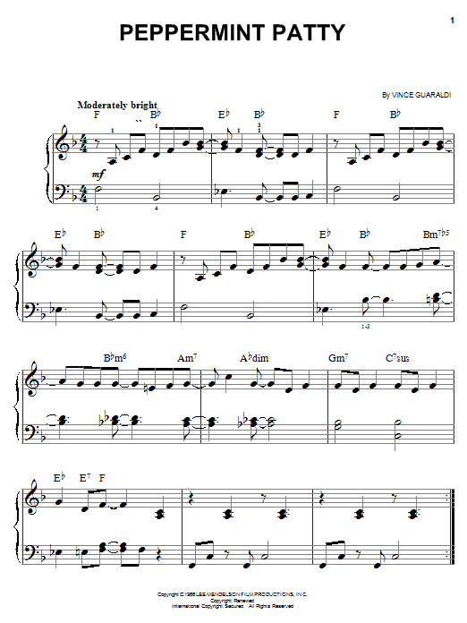 Peppermint Patty sheet music for piano solo (chords) by Vince Guaraldi