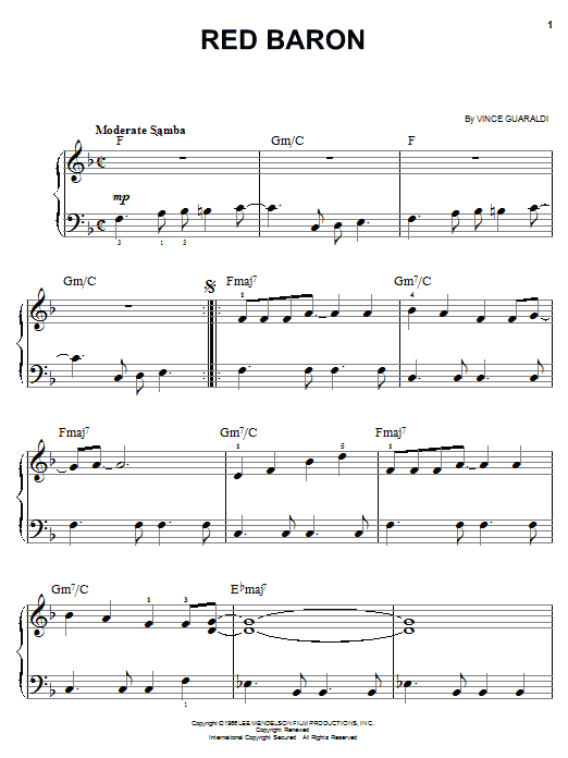 Red Baron sheet music for piano solo (chords) by Vince Guaraldi