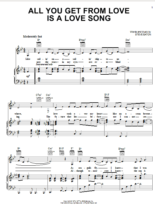 All You Get From Love Is A Love Song sheet music for voice, piano or guitar by Steve Eaton