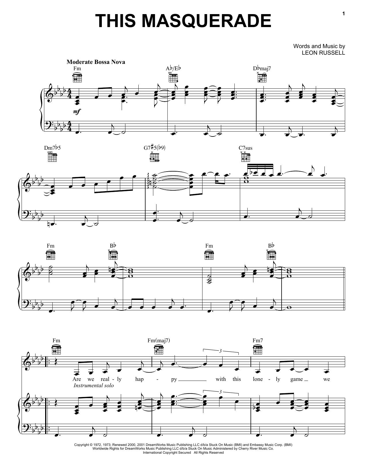 Partition piano This Masquerade de Carpenters - Piano Voix Guitare (Mélodie Main Droite)