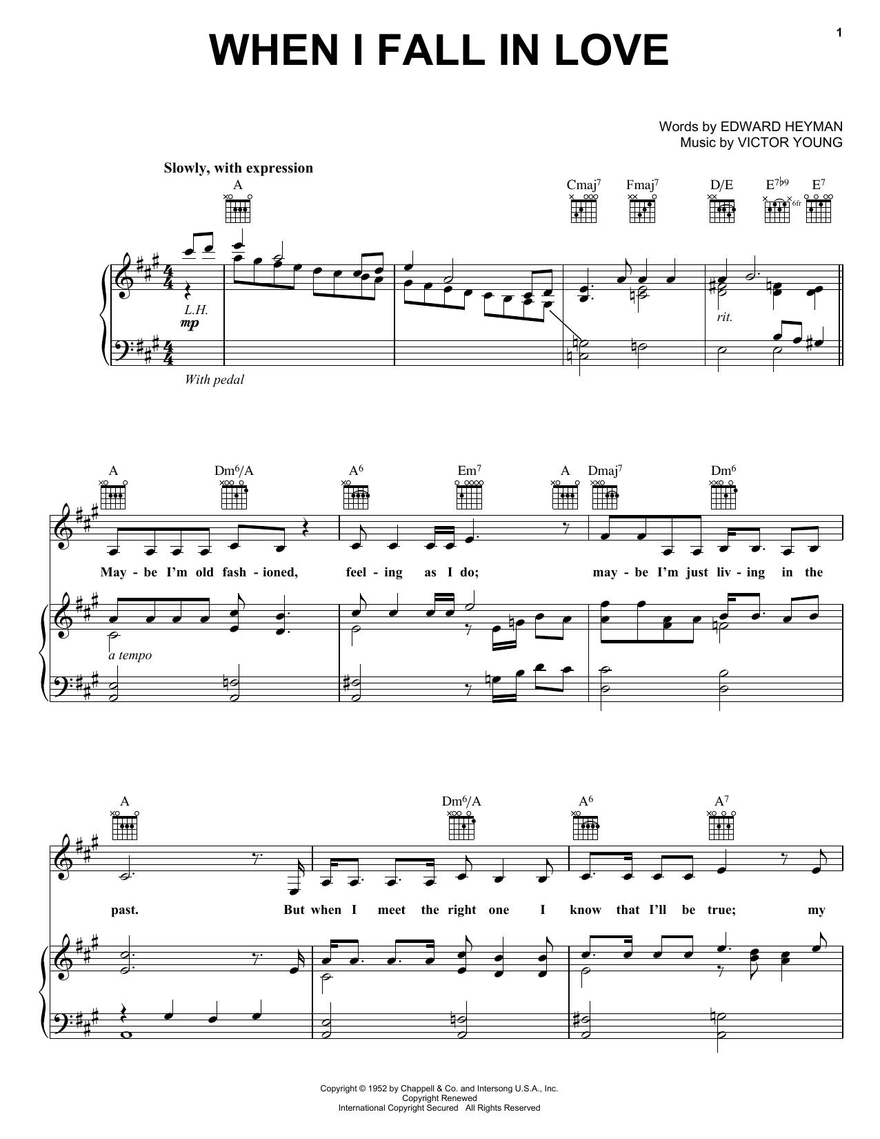 Partition piano When I Fall In Love de Carpenters - Piano Voix Guitare (Mélodie Main Droite)