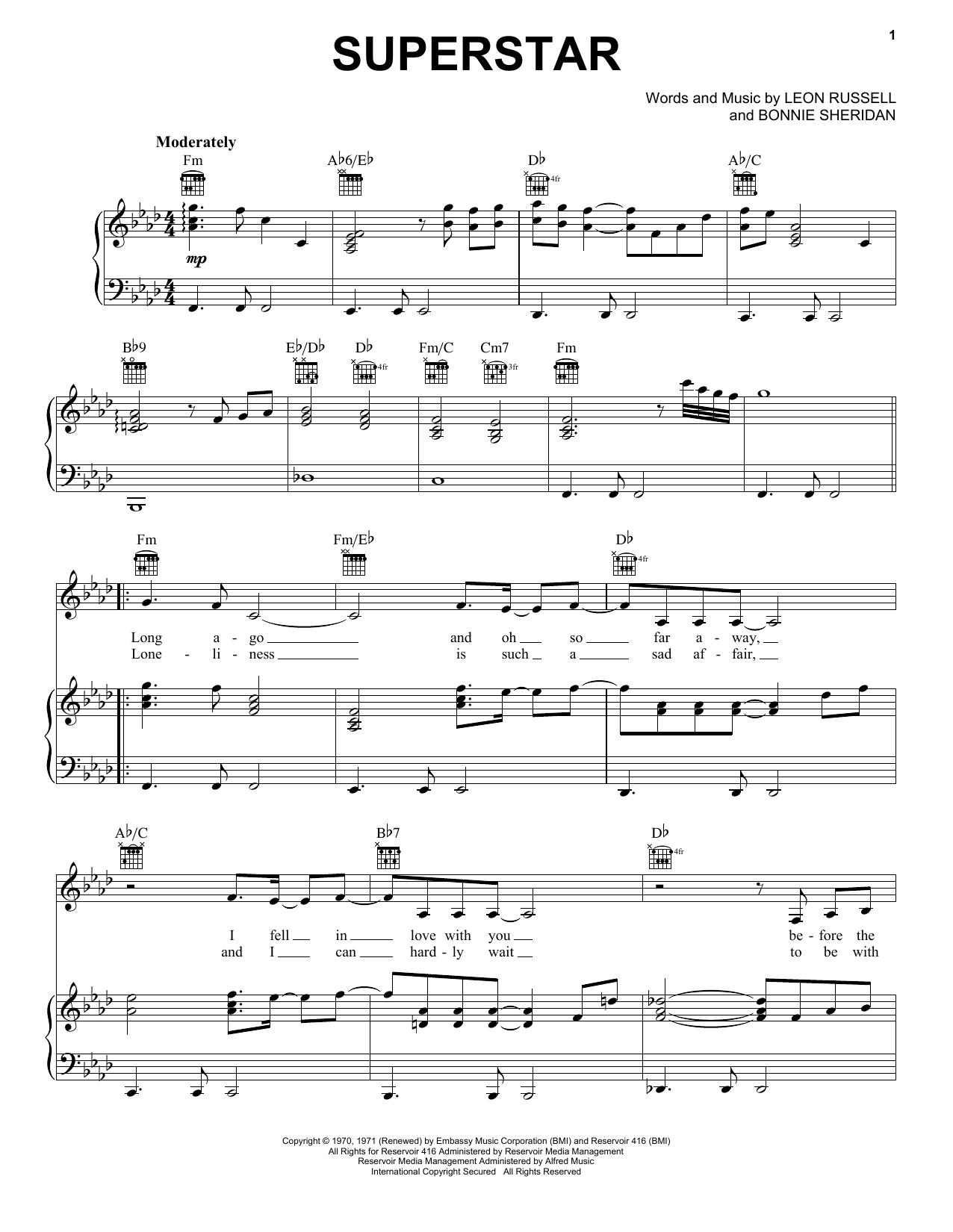 Partition piano Superstar de Carpenters - Piano Voix Guitare (Mélodie Main Droite)