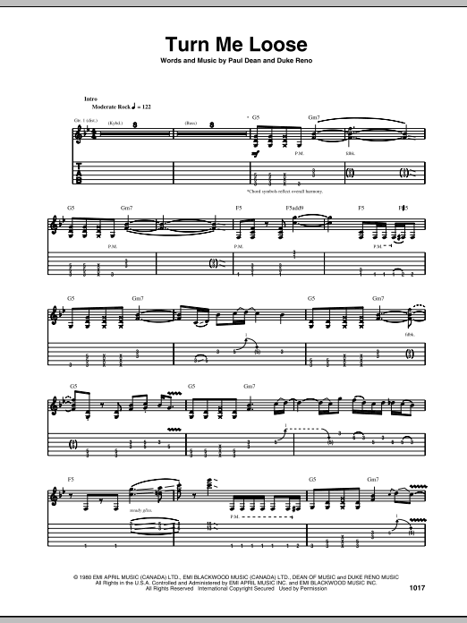 Tablature guitare Turn Me Loose de Loverboy - Tablature Guitare