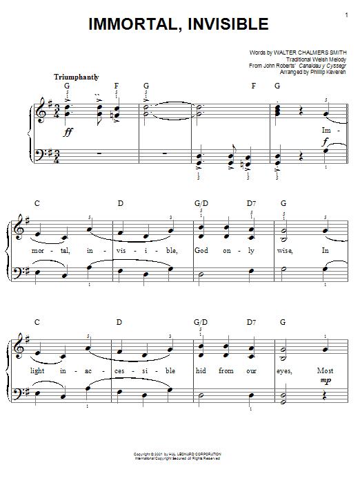 Partition piano Immortal, Invisible de Phillip Keveren - Piano Facile