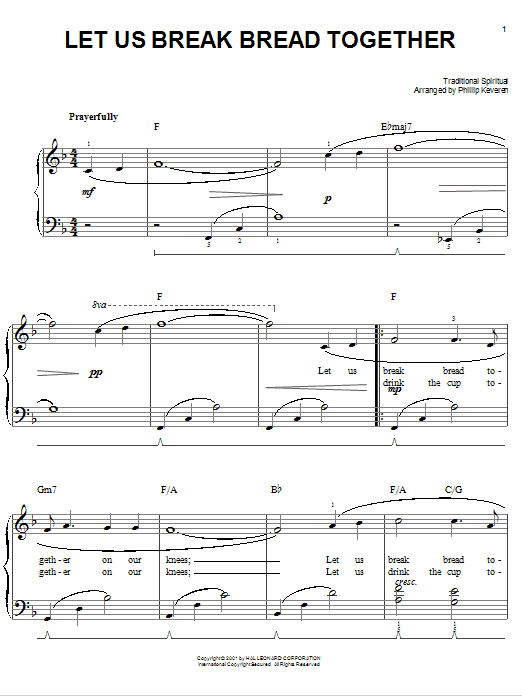 Partition piano Let Us Break Bread Together de Traditional Spiritual - Piano Facile
