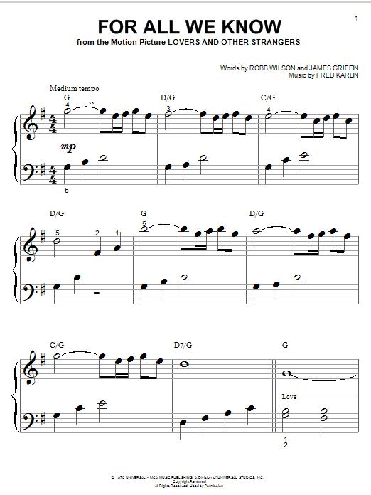 Partition piano For All We Know de Carpenters - Piano Facile
