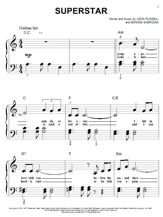Partition piano Superstar de Carpenters - Piano Facile
