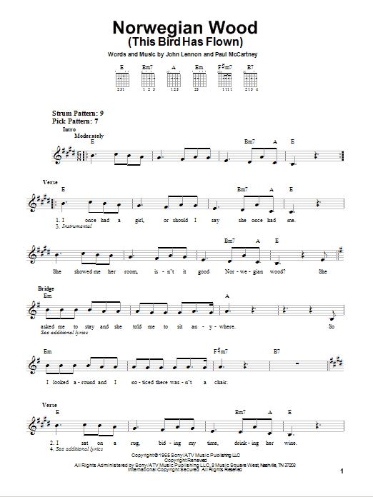 Tablature guitare Norwegian Wood (This Bird Has Flown) de The Beatles - Tablature guitare facile
