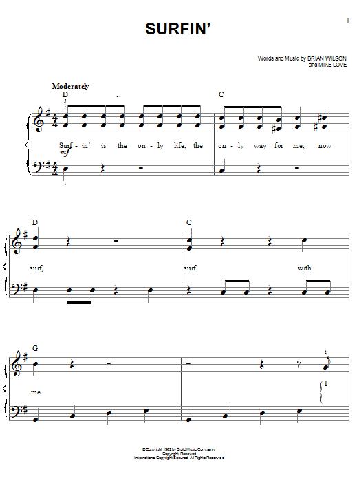Partition piano Surfin' de The Beach Boys - Piano Facile
