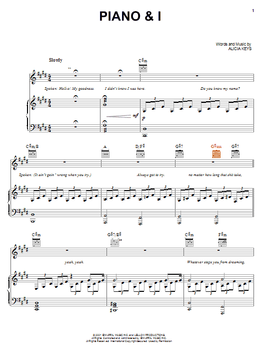 Piano and I sheet music for voice, piano or guitar by Alicia Keys