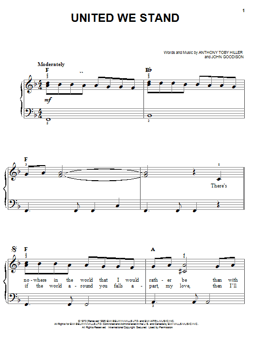 Partition piano United We Stand de Brotherhood Of Man - Piano Facile