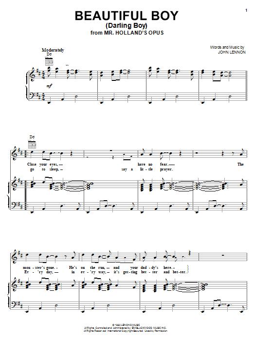 Partition piano Beautiful Boy (Darling Boy) de John Lennon - Piano Voix Guitare (Mélodie Main Droite)