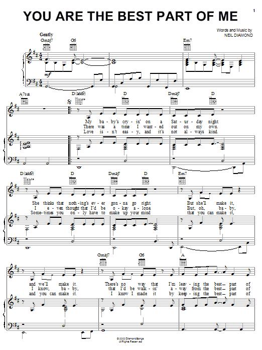Partition piano You Are The Best Part Of Me de Neil Diamond - Piano Voix Guitare (Mélodie Main Droite)