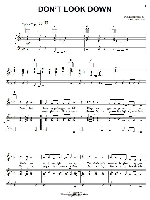 Partition piano Don't Look Down de Neil Diamond - Piano Voix Guitare (Mélodie Main Droite)