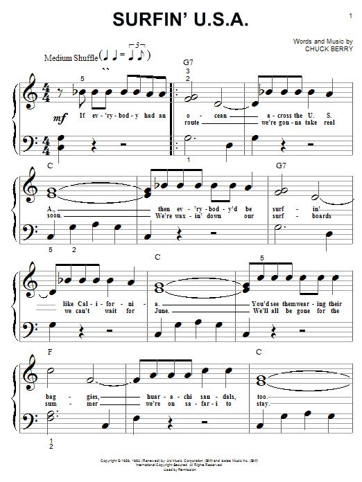 Partition piano Surfin' U.S.A. de The Beach Boys - Piano Facile