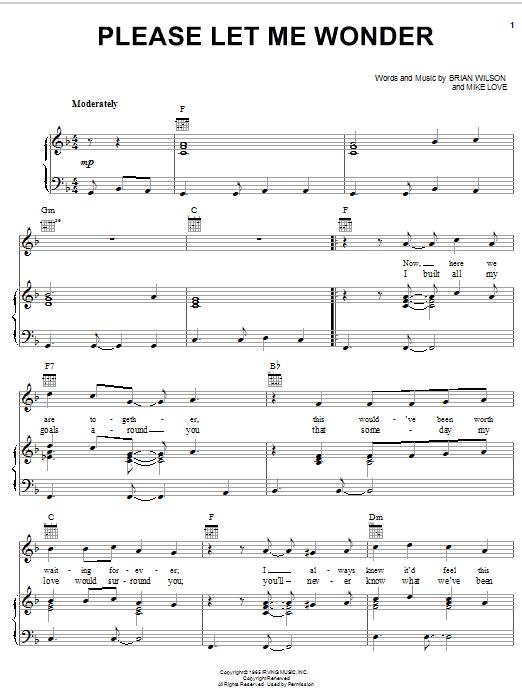 Partition piano Please Let Me Wonder de The Beach Boys - Piano Voix Guitare (Mélodie Main Droite)