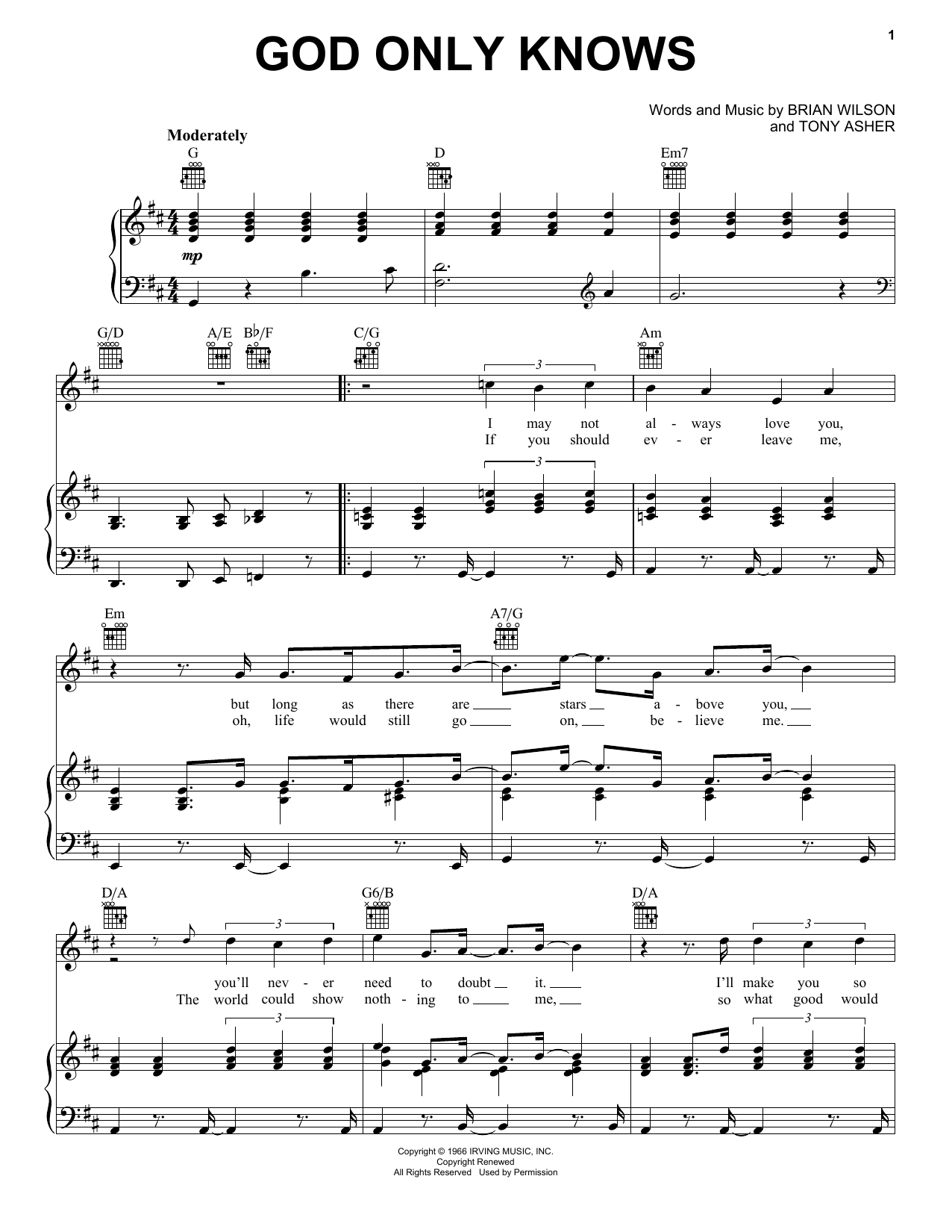 God Only Knows sheet music for voice, piano or guitar by Tony Asher