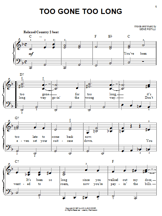 Too Gone Too Long sheet music for piano solo (chords) by Gene Pistilli