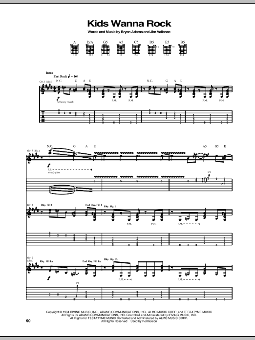 Kids Wanna Rock sheet music for guitar solo (tablature) by Jim Vallance