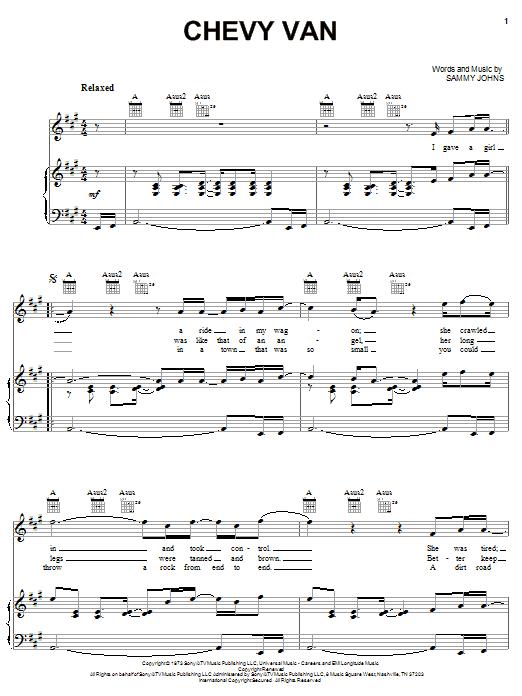 Partition piano Chevy Van de Sammy Johns - Piano Voix Guitare (Mélodie Main Droite)