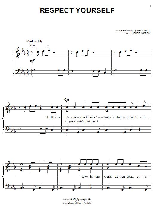 Partition piano Respect Yourself de The Staple Singers - Piano Facile