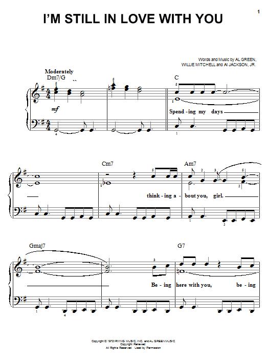 Partition piano I'm Still In Love With You de Al Green - Piano Facile