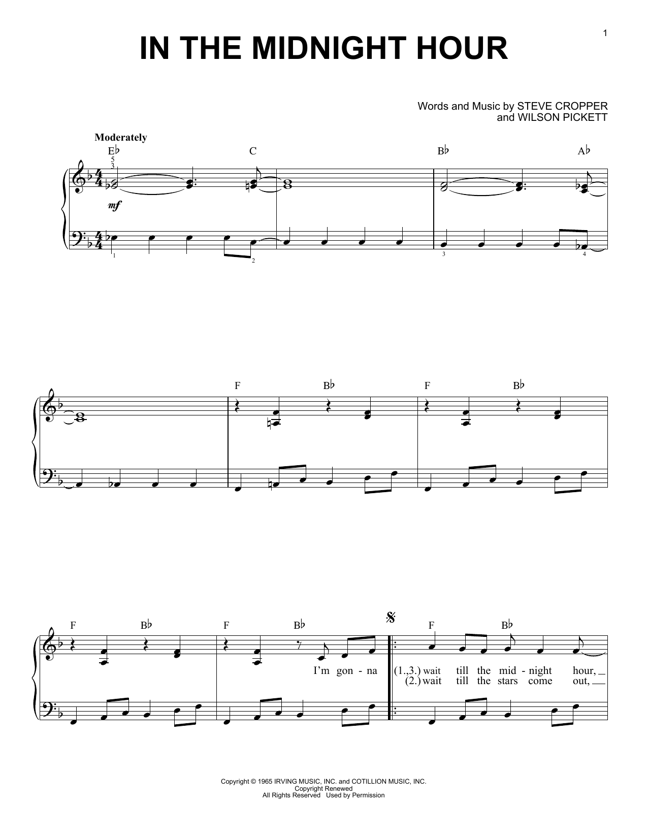 In The Midnight Hour sheet music for piano solo (chords) by Steve Cropper