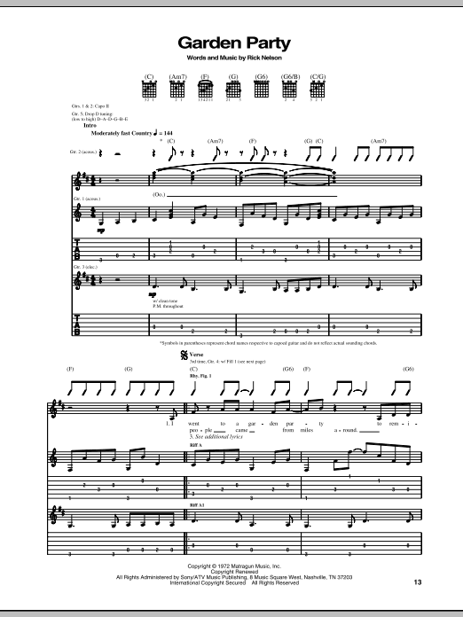 Garden Party By Ricky Nelson Guitar Tab Guitar Instructor