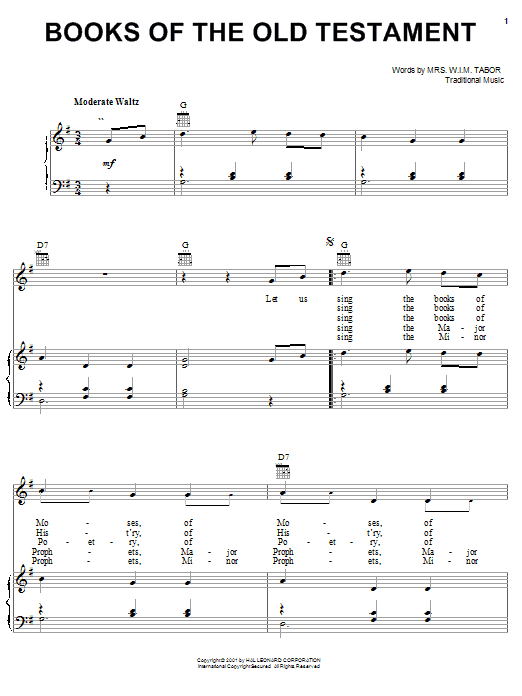 Partition piano Books Of The Old Testament de Mrs. W.I.M. Tabor - Piano Voix Guitare (Mélodie Main Droite)