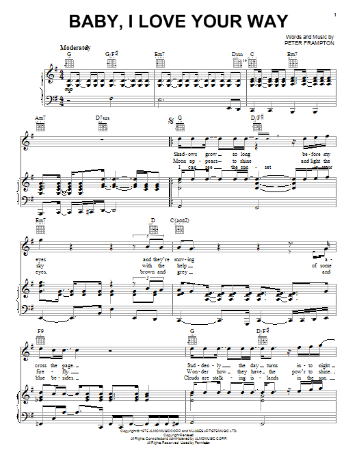 Partition piano Baby, I Love Your Way de Peter Frampton - Piano Voix Guitare (Mélodie Main Droite)