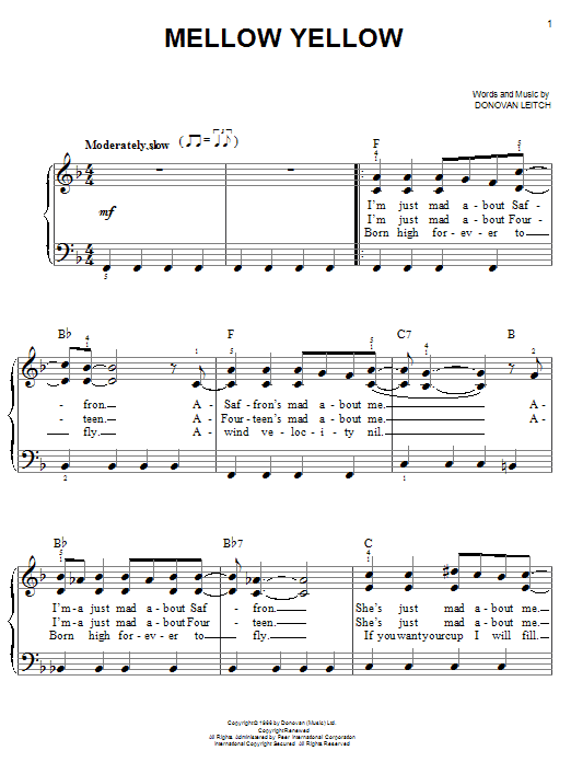 Partition piano Mellow Yellow de Donovan - Piano Facile