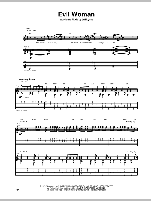Tablature guitare Evil Woman de Electric Light Orchestra - Tablature Guitare