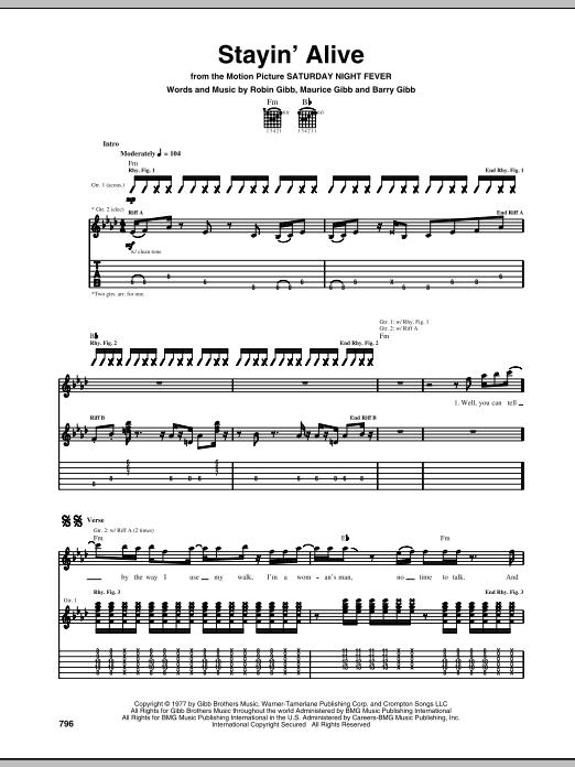 Tablature guitare Stayin' Alive de Bee Gees - Tablature Guitare