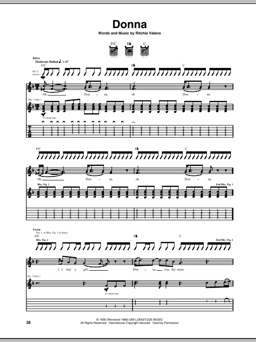 Tablature guitare Donna de Ritchie Valens - Tablature Guitare