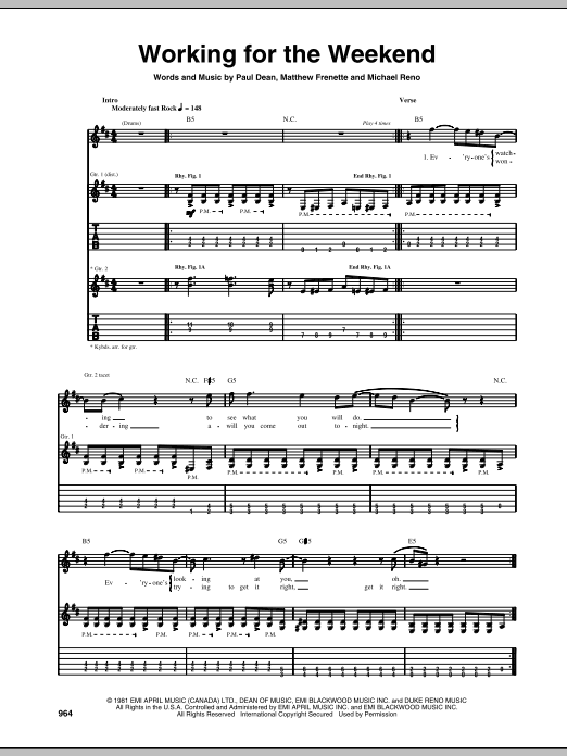 Tablature guitare Working For The Weekend de Loverboy - Tablature Guitare