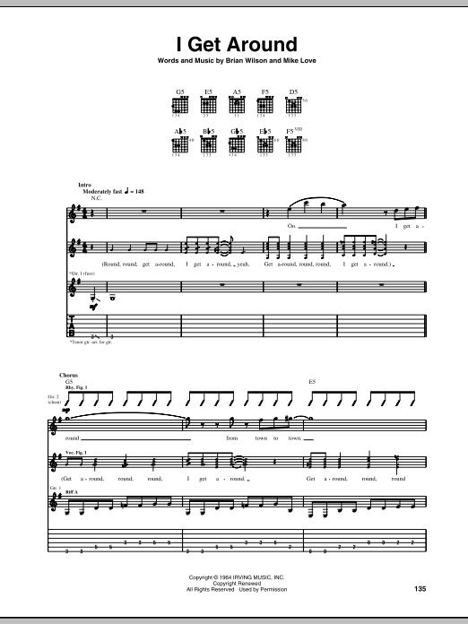 Tablature guitare I Get Around de The Beach Boys - Tablature Guitare
